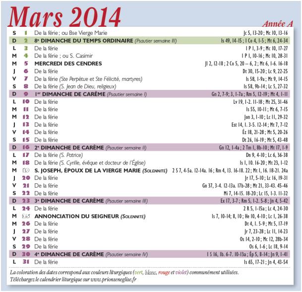 calendrier mars 2014